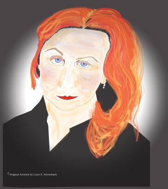 Illustration of Audrey Niffenegger by Lynn S. Schwebach