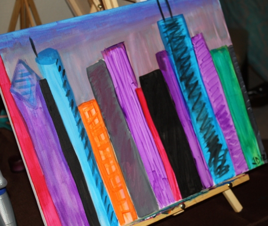 Photo of Chicago Skyline painting done at a paint party in Chicago