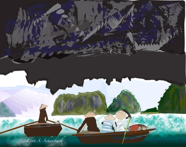 Halong Bay, Vietnam Illustration by Lynn S. Schwebach