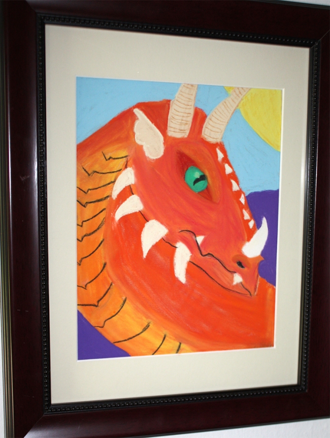 Bright Orange Dragon Art by one of Christy Alden's art students