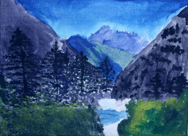 A Photo of a mountain pastel painting by one of Christy Alden's students