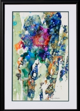 Photograph of Abstract Rose Ink Painting by Lynn S. Schwebach