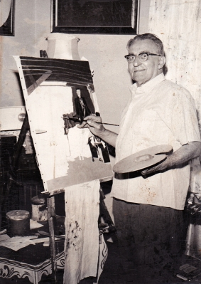 Photograph of Grandpa Vermier Painting