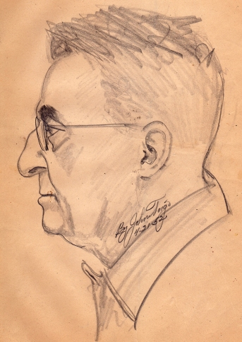 Pencil sketch of grandfather Vermier