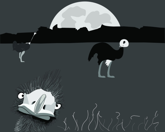 ostriches at night illustration