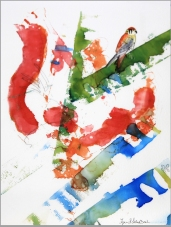 Photograph of Abstract Kestral Ink Painting by Lynn S. Schwebach.