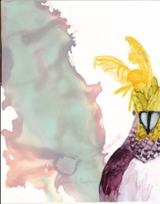 Photograph of abstract ink painting of an Australian Cockatoo by Lynn S. Schwebach
